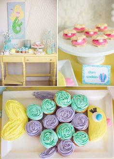 themed birthday parties, girl birthday, sea party, cupcake cakes, mermaid birthday, ideas party, sea theme, parti idea, birthday ideas