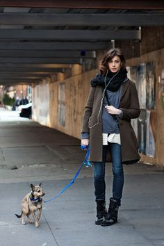 A winter walk. Always love a great NY street style shot (especially when there's a cute dog involved!)