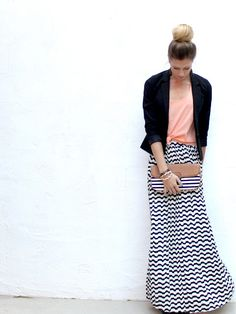 Do print maxi with bright solid top style, blazer, outfit, long skirts, peach, sewing blogs, stripe, shirt, maxi skirts