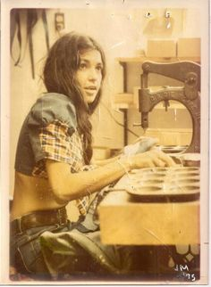 """""""Sabatasso designed for the likes of Presley, Dylan and Grace Slick-- famous for being the originator of recycled denim clothing. She continues to design today."""""""