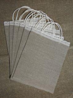 Linen gift bags natural burlap linen and lace wedding by cikucakuu, $45.00