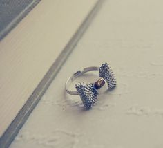 FREE SHIPPING Mesh Bow Ring in Silver  Adjustable by Amourx, $8.00