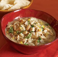 Quick Chicken Chili: I throw this over corn tortilla chips with some shredded cheese and bake until melted. The kids LOVE it.