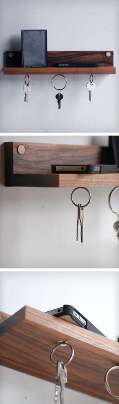 Magnetic wooden key shelf