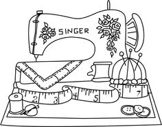 sewing machines, dibujo para, pattern, digi, color
