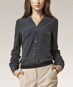 Navy Dots V-Neck Button-Up Top