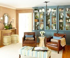 wall colors, living rooms, china cabinets, color schemes, cabinet colors, blue, club chairs, room makeovers, leather chairs