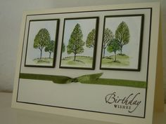 handmade birthday card ... Lovely as a Tree three matted panels ... like the green sponged with the trees stamp ... Stampin' Up!