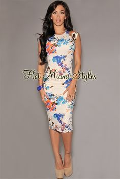 Off White Multi-Color Floral Cut-Out Dress
