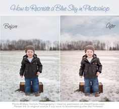 Learn how to add a blue sky while photo editing!  {via iHeartFaces.com} #photoshop