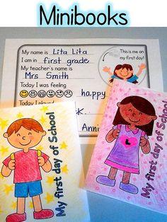 First Day of School minibooks English-Spanish