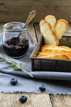 Langues de Chat Biscuits and Blueberries in Rosemary