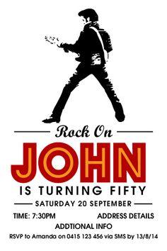Elvis Invitation, Men's Birthday Invitation, Rock n Roll Invitation