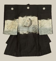 A very fine silk miyamairi kimono used for christening a baby boy at a Shinto ceremony, featuring a jumping carp motif. Techniques involve embroidery and metallic-couching highlights, 'bokashi', and sume e painting. Mid/late-Edo period (1800-1850), Japan.   The Kimono Gallery