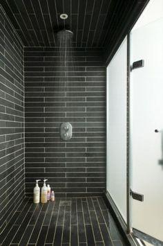 tile patterns, shower heads, bathroom idea, tiled showers, master bathrooms, hous, subway tiles, black, tile showers