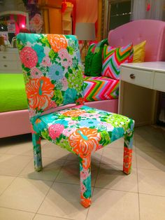 Bring some fun to a room with this bright and beautiful Lilly Pulitzer chair |Houston, TX| Gallery Furniture|