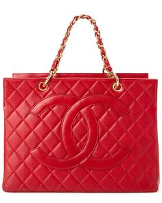 Chanel Red Quilted Caviar Leather Grand Shopper Tote