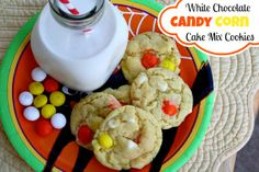 Mommy's Kitchen: White Chocolate Candy Corn Cake Mix Cookies
