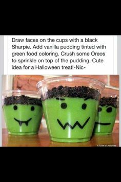 Try this fun recipe for Halloween pudding treats.