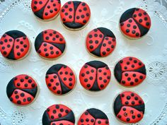 One dozen mini delicious ladybug sugar cookies by jaynessugarshack, $8.00
