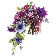 Cascading tonal purple wedding bouquet of lilacs, ranunculus, magnolias, clematises, and anemones
