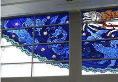"""""""I Was Dreaming of Spirit Animals"""" by Cappy Thompson (Seattle, WA) glass painting at SeaTac Airport"""