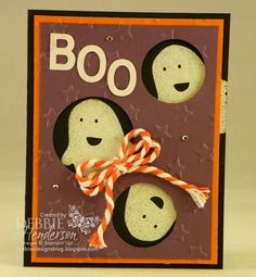 Stampin' Up! Fall Fest peek-a-boo ghosts. Debbie Henderson, Debbie's Designs.