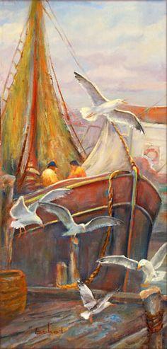 fishermen with sea gulls