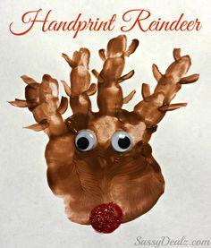 Handprint Reindeer Christmas Craft For Kids (Paint Art Project) #Rudolph | #kids #children  #Christmas #reindeer #handprint #keepsake #craft #preschool #prek #kindergarten #toddler #home #weekend #diy #holiday #fingerprint #easy #santa #baby #infant #toddler