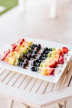 Rainbow Fruit Skewers | Style Me Pretty