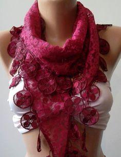 Fuchsia    elegance  shawl / scarf with lacy edge by womann, $19.90