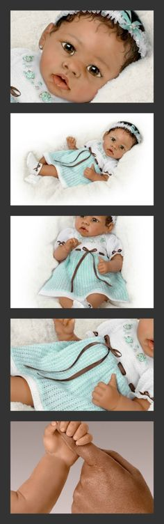 Alicia's Gentle Touch Realistic Interactive Baby Doll by Ashton Drake #Living Dolls $149.99 #Dolls #Live Dolls #Realistic Dolls #Life Like Baby Dolls #Baby Dolls That Look Real #Realistic Baby Dolls
