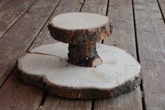 Rustic Wood Tree Slice 2tier Cupcake Stand for your by postscripts, $50.00