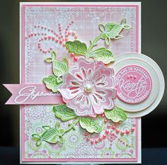 This card shows what beautiful creation you can make with the new stamp & die combinations: The Collectables!  Here DT member Wilga used the COL1304 and COL1305 fantasy flowers stamp & die combinations. Take a look at Wilga's blog to see more beautiful examples with our products: http://mypaperpasion.blogspot.nl/    On our website you can see more of the new Collectables together with all other new releases for January 2013  http://www.mariannedesign.nl/t7/wordt-verwacht