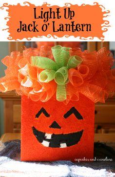 Easy-to-Make Light Up Jack-o-Lantern Craft | Cupcakes and Crinoline