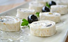 Tortilla Pinwheels - with green chiles and olives.