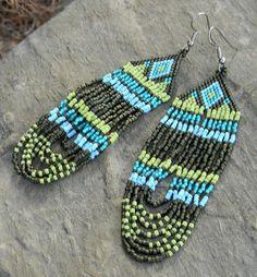 Native American Peyote Beaded Bracelets | Native American style seed bead earrings - peyote earrings, long ...