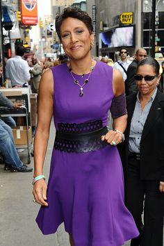 Continue to stay strong Robin!  Roberts arrives at 'Good Morning America' 07.26.2012 wearing a matching PICC Cover Fashions TM arm band to cover picc line. Shown in 'Vixen' by CastCoverFashions