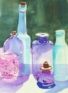 MY COLORED GLASS BOTTLES by BonnieBuchananKingry, via Flickr