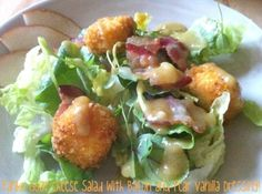 Panko Goat Cheese Salad with Bacon and Pear Vanilla Dressing
