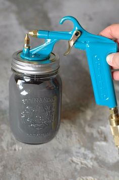 best spray gun for painting furniture...it's cheap, uses mason jars, and it's an easy clean up!