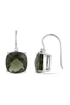 Smokey Quartz & Diamond Earrings in 14k White Gold