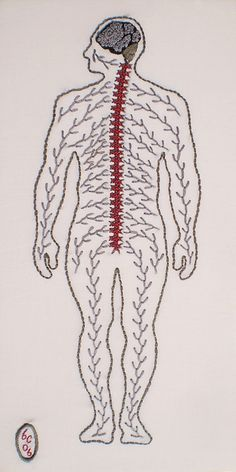 """Anatomical Series - Nervous by Ben Conrad (2006)  Cotton embroidery floss on muslin  13"""" x 6.5"""" (33cm x 16.5cm)"""