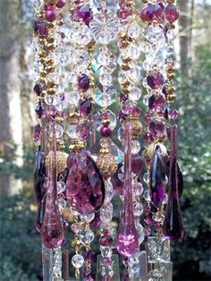 Elegant Golden Plum Antique Crystal Wind Chime | Sheris Crystal Designs
