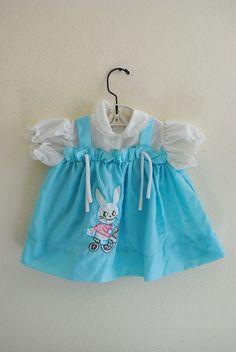 Vintage baby dress with bunny rabbit applique.