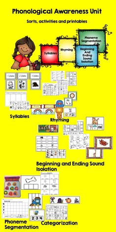 This packet includes colorful sorts, activities and worksheets for various phonological awareness skills related to common core  Includes: ~Syllable sort and worksheet ~4 rhyming picture sorts- rhyming rainbows, rhyming picture cards as wells as a rhyme worksheet, clip a rhyme ~I Spy game ~Beginning sound match and worksheet ~Ending sound cards and worksheet ~clip a beginning and ending sound ~Categorization activities and worksheet  - 4 different activities for phoneme segmentation. $