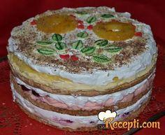 Recept za Moskva tortu. Za spremanje torte neophodno je pripremiti belanca, so, šećer, brašno, orah, prašak za pecivo, žumanca, mleko, toping, arome, višnje, ananas, borovnice.