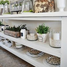 Easy DIY Buffet table. A beautiful anchor to any kitchen space.