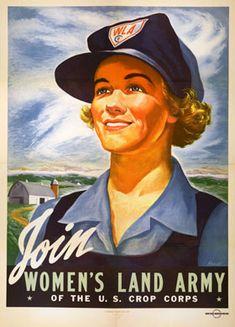U.S.: Women's Land Army Recruitment Poster, U.S. Crop Corps, 1943