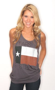 stars and striped tank [grey] - This shirt confuses me. Stars & stripes is the U.S. flag and this is the Texas flag.